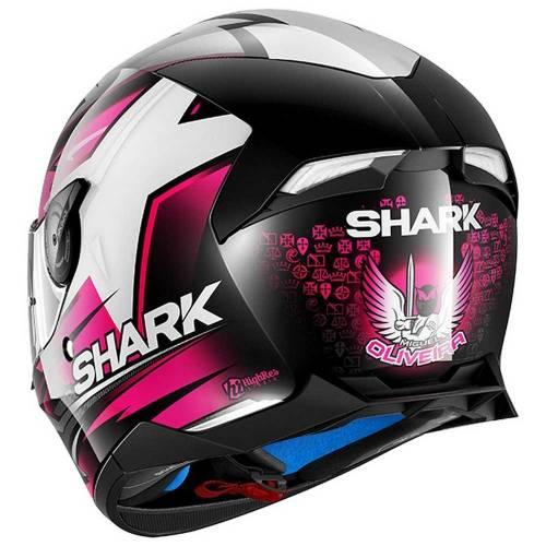 Cască Moto Integrală SHARK SKWAL 2 REPLICA OLIVEIRA LED · Negru / Alb / Roz