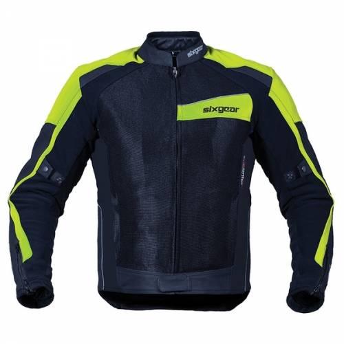 Geacă Moto din Piele & Textil SIXGEAR SWITCH · Negru / Verde-Fluo