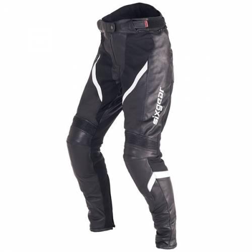 Pantaloni Moto Damă din Piele & Textil SIXGEAR ARIEL · Alb / Negru