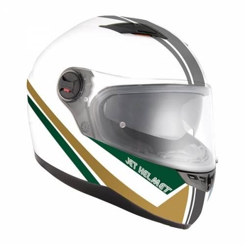 Cască Moto Integrală JET FIGHTER SV MOCCA · Alb / Gri / Verde / Auriu