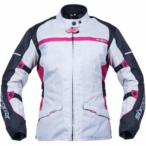 Geacă Moto Damă din Textil SIXGEAR LUNA · Negru/Gri/Pink