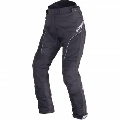 Pantaloni Moto Damă din Textil SIXGEAR LUNA · Negru / Alb