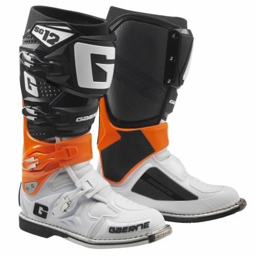 Cizme Moto din Piele & Textil GAERNE SG12 · Portocaliu / Negru / Alb