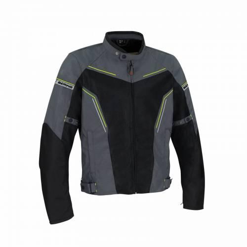 Geacă Moto din Textil BERING CANCUN · Negru / Gri / Verde-Fluo