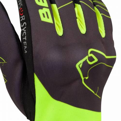 Mănuși Moto din Textil BERING GRISSOM · Negru / Verde-Fluo