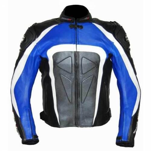 Geacă Moto din Piele SHOX FACTORY · Albastru / Alb / Negru